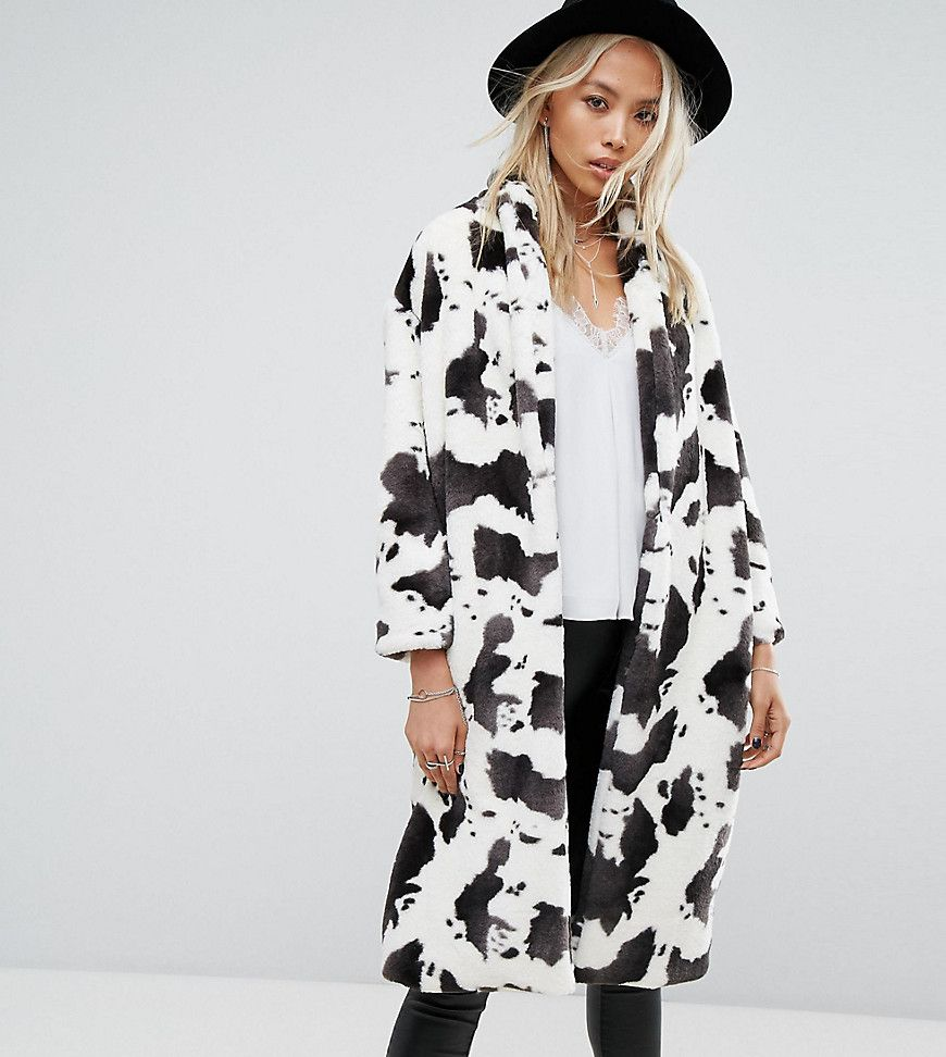 5f879a60b8 Religion Longline Coat In Cow Print Faux Fur - Multi
