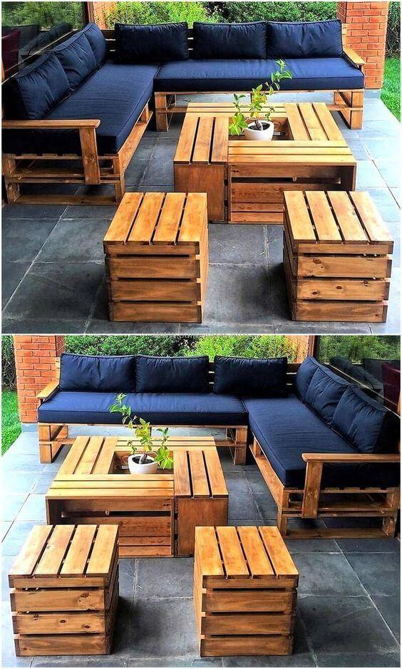 Lassen Sie sich inspirieren, ein ganzes DIY-Paletten-Set für den Außenbereich zu kreieren, das Sie genießen können ... - Trend NB #diyfurniture