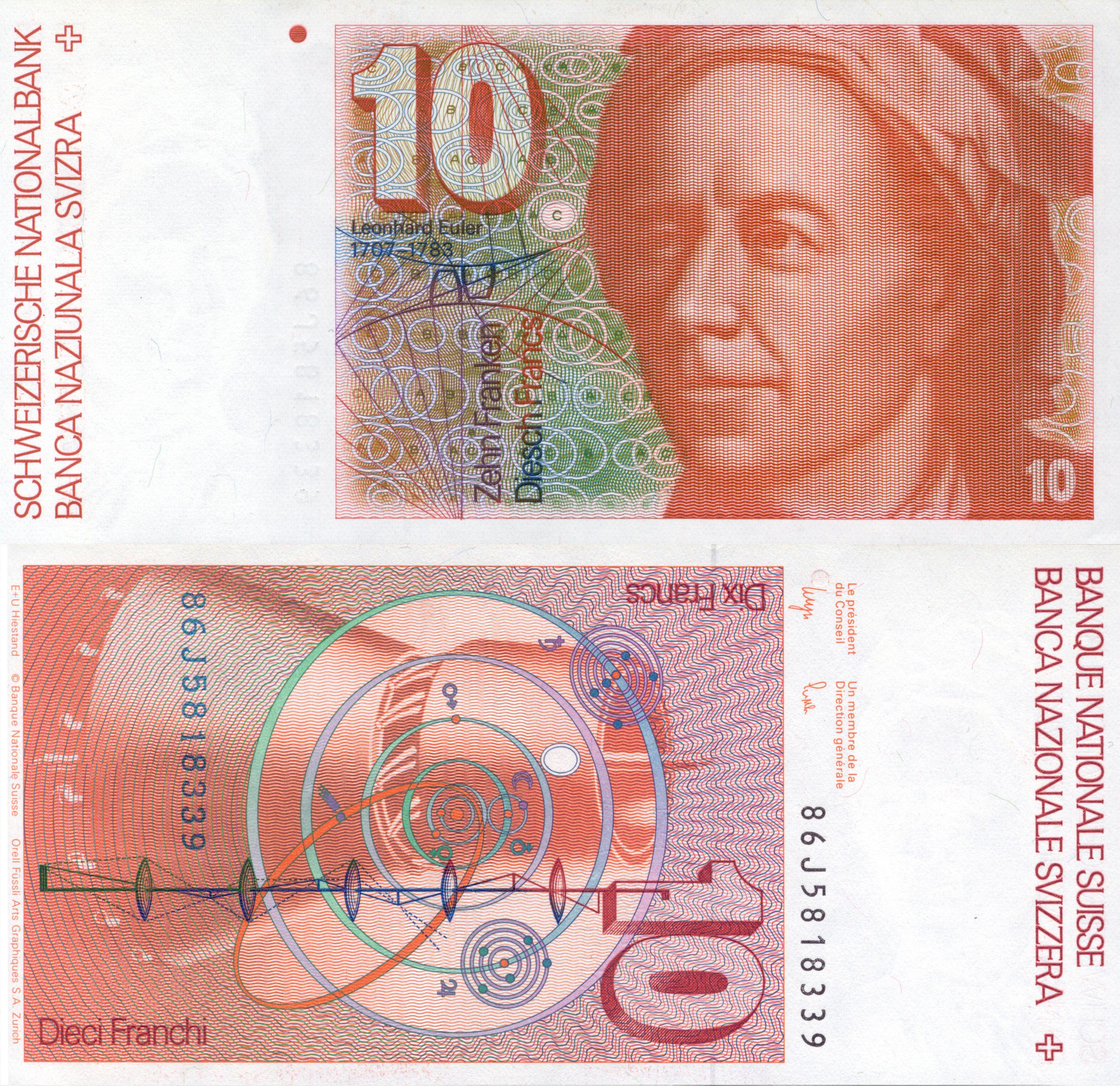 Leonhard Euler 10 Swiss Franc Circulation Leonhard Euler Billetes Billetes Del Mundo Casa De La Moneda