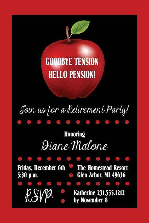 Apple Teacher Retirement Party Invitation by AnnounceItFavors ...