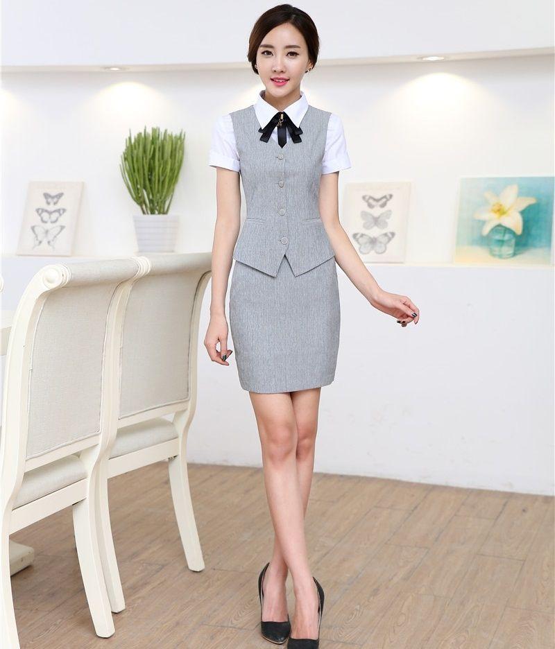 98724c4f0f5 Novelty Fashion Formal Uniform Styles Professional 2015 Spring Summer  Business Suits Vest + Skirt OL Blazers