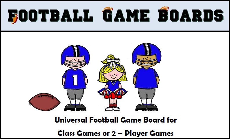 Football Game Boards - Generic board for many subjects- Use to review spelling words, math facts, or any subject!