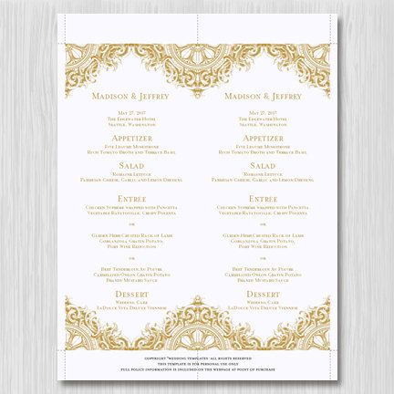 Printable Wedding Menu Template Vintage Gold by WeddingTemplates - menu template for word