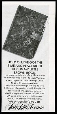 1976 Louis Vuitton Address Book Photo Saks Fifth Avenue Vintage Print Ad