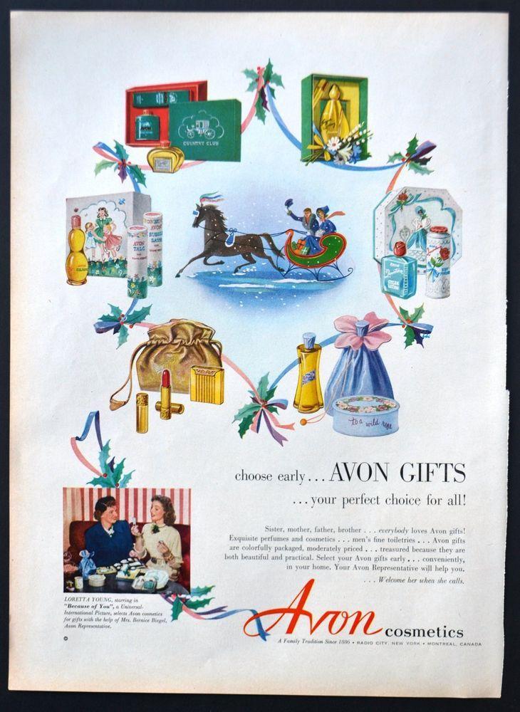 1952 Avon Cosmetics Vintage Print Ad Illustration Gifts