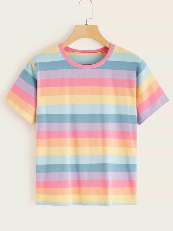 Rainbow Striped Short Sleeve Tee in 2020 | Striped tee