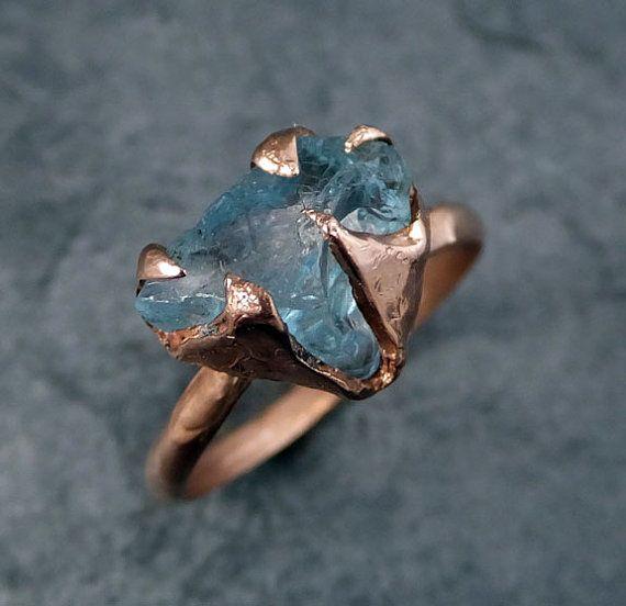 RAW Uncut Aquamarine anneau solide 14K bague en or par byAngeline
