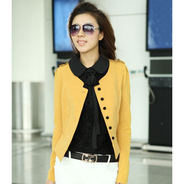 Yellow Pure Color Button Closure Stylish Short Coat, womens sexy ...
