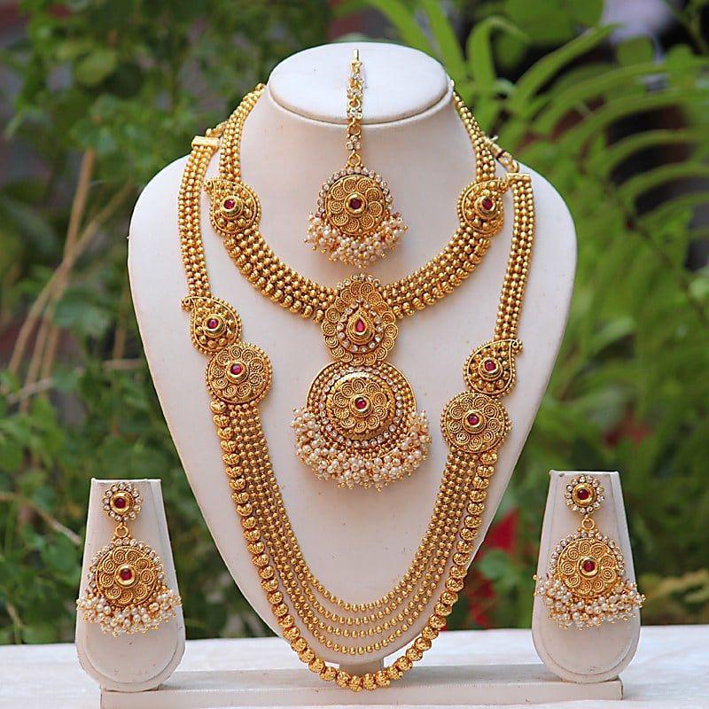 Shop Traditional Fancy Maroon Kundan Semi Bridal Set by