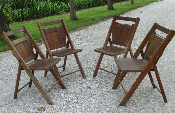 Set of 4 Wood Folding Chairs Church Funeral by TheOldGrainery