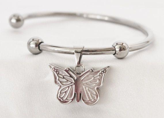 Stainless Steel Butterfly Cremation Keepsake Charm Bracelet with Fill Kit. charm Bracelet
