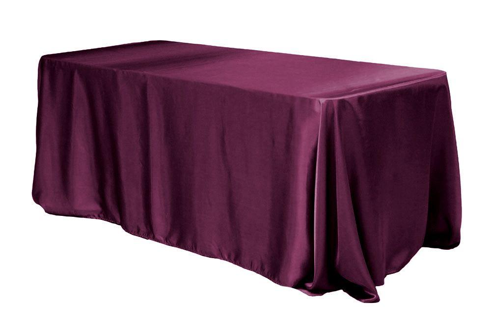 Satin Rectangular 90 X132 Tablecloth Sangria Table Cloth