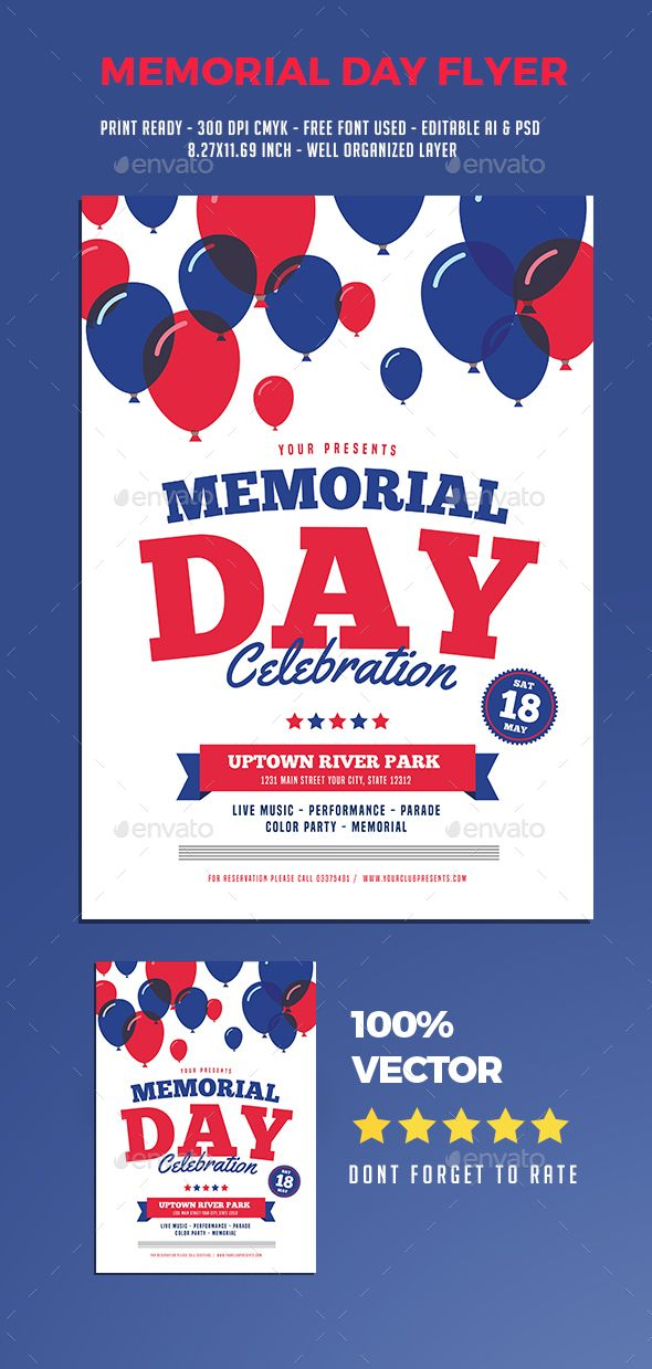 Memorial Day Celebration Flyer Templates Pinterest