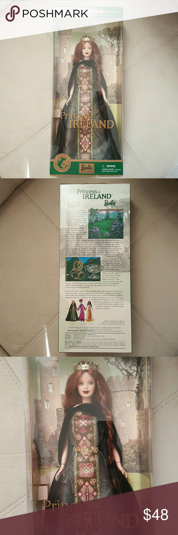 NIB Dolls of the World Princess of Ireland New in box. Never open. Factory sealed.  Collectors edition. 2001.   Dolls of the World. Princess of Ireland. Content includes doll, gown, cloak, crown, shoes, doll stand and certificate of authenticity. Mattel  Other