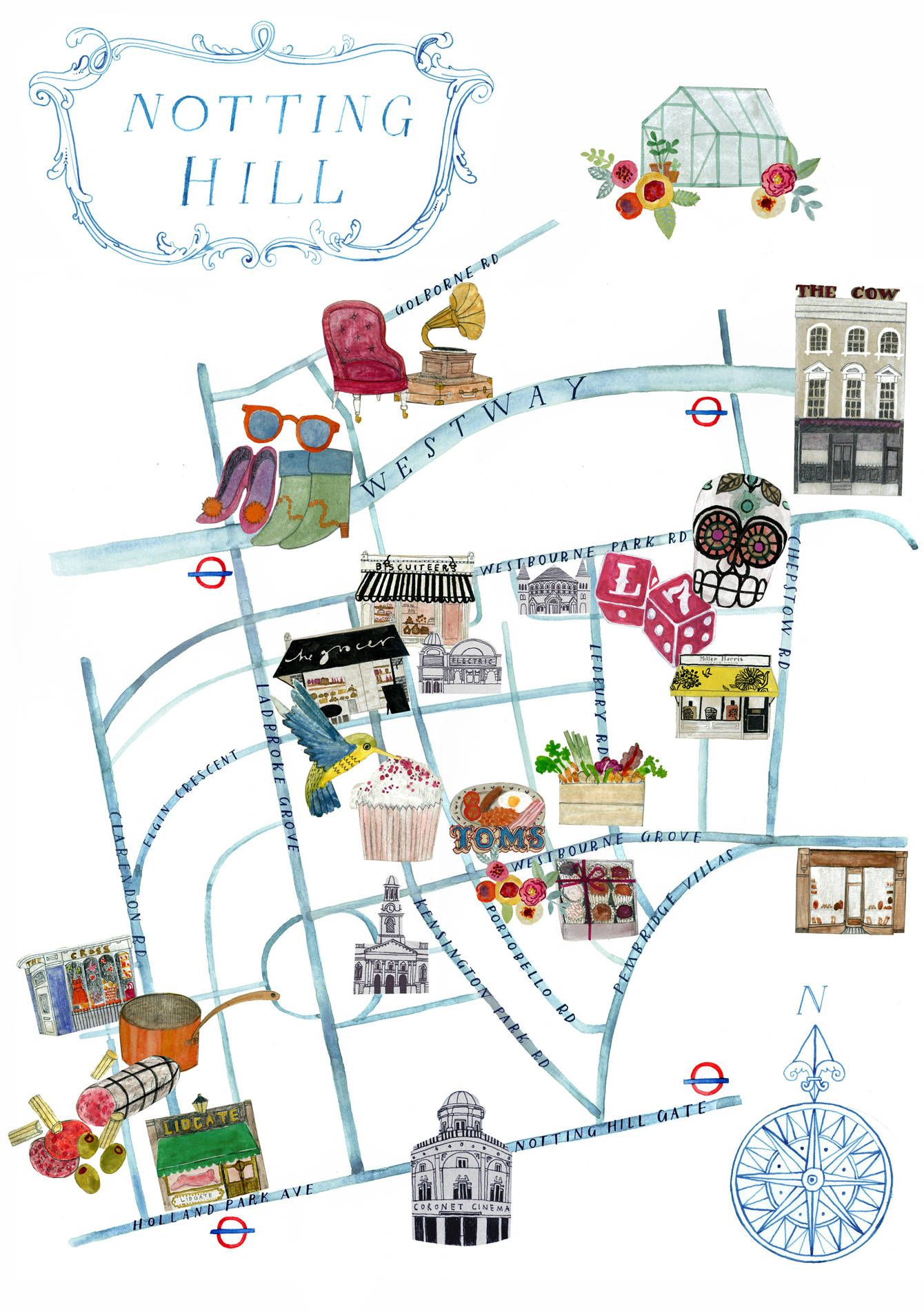 Notting Hill Map Notting Hill map   Lucy Panes Illustration … | Oh, the places you
