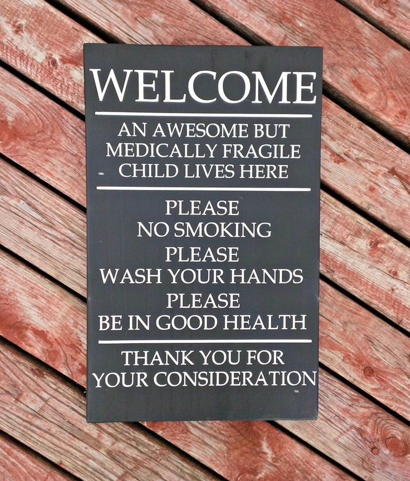 Sign for a home with a medically fragile child. Asthma