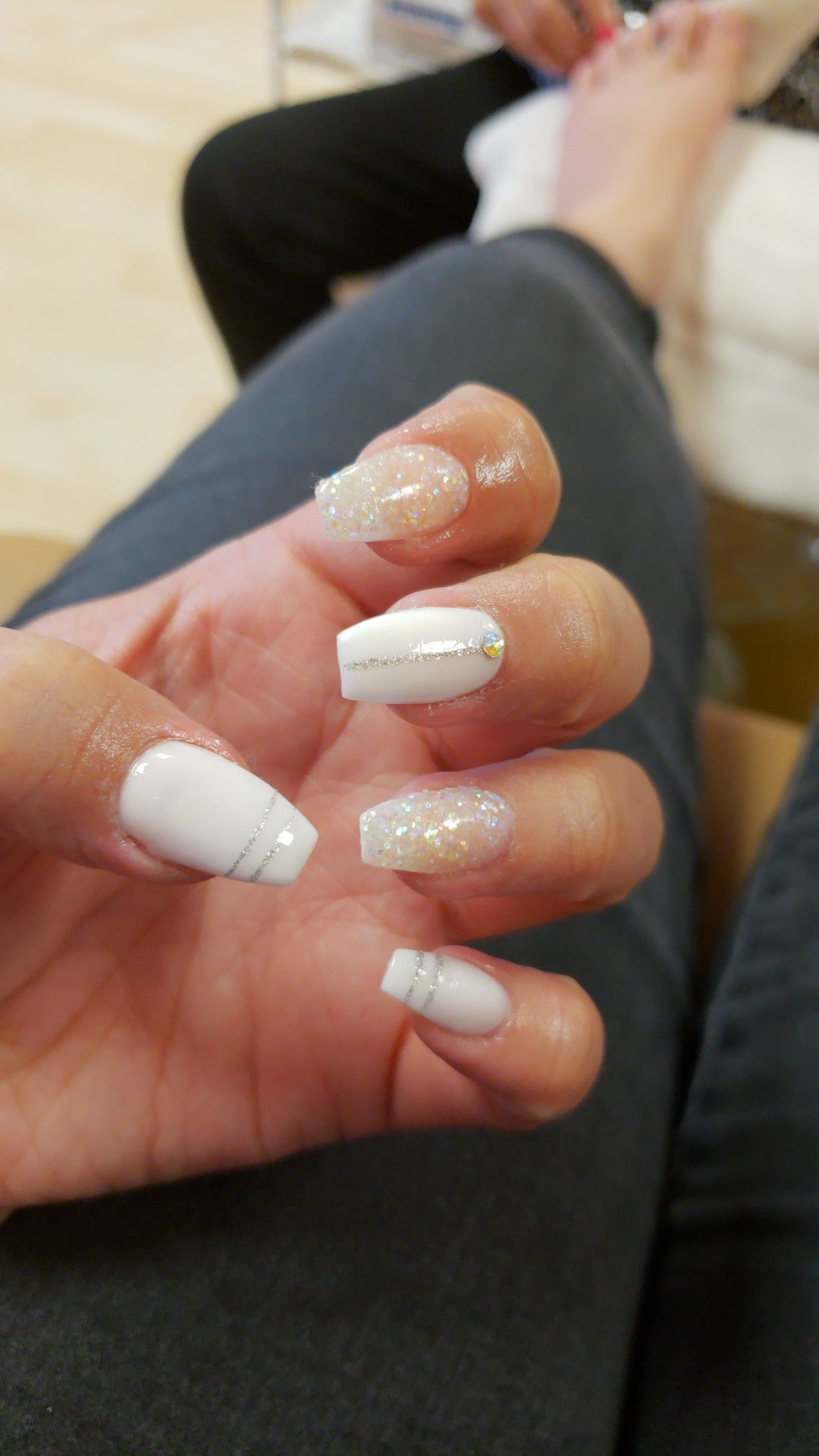Coffin Nails White Glitter Short With Images Red Acrylic