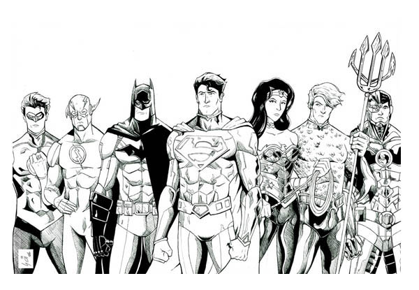 The Magnificent Seven Of Justice League Coloring Page Netart The Magnificent Seven Justice League Coloring Pages