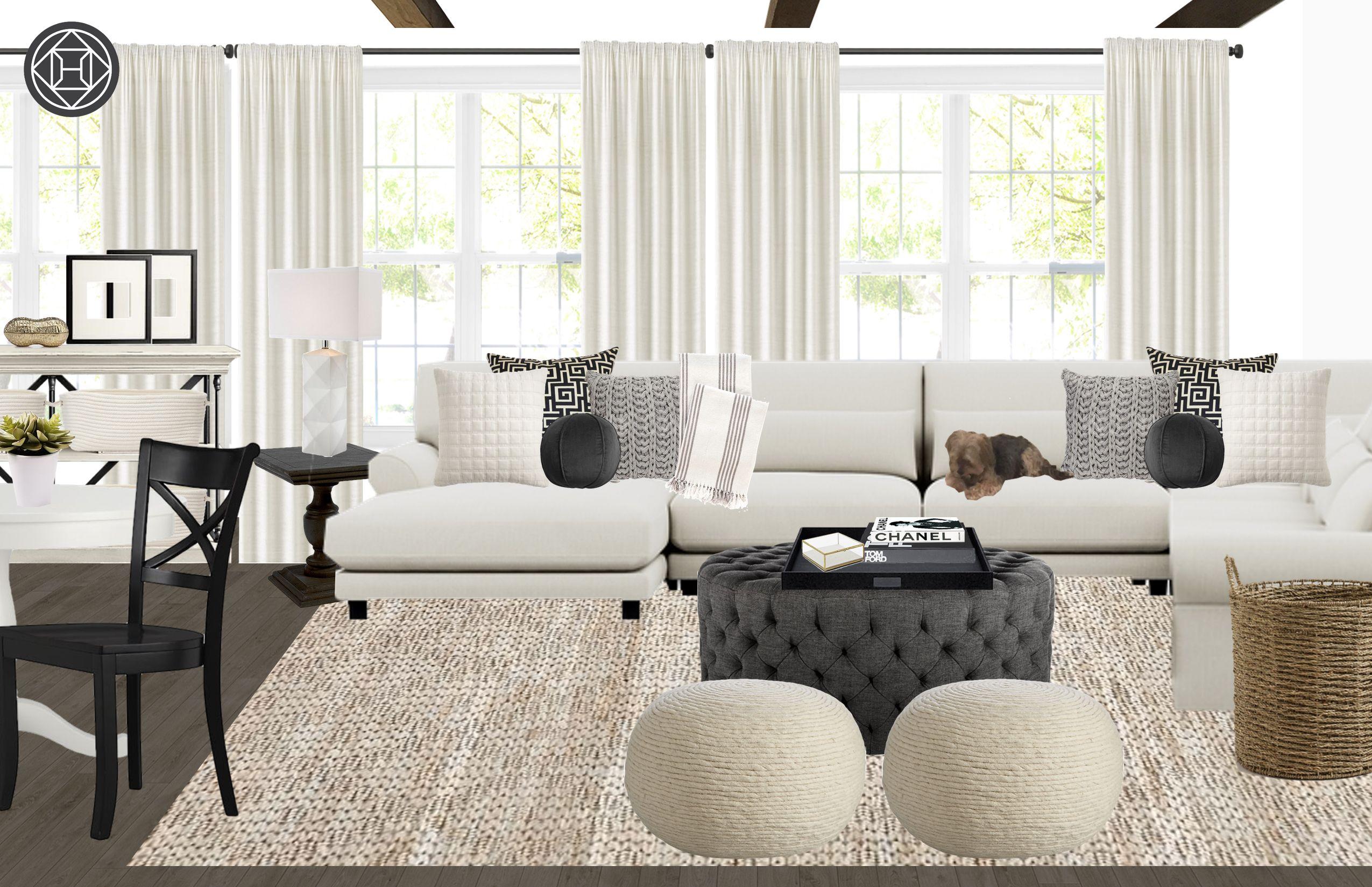 Contemporary Coastal Living Room Design By Havenly Interior