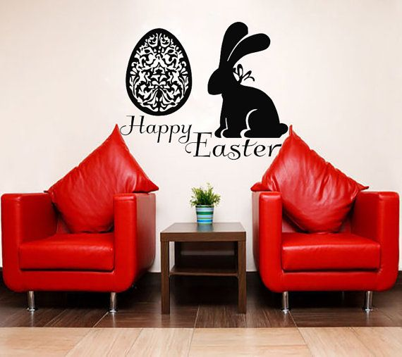 easter wall art sunday decal vinyl egg sticker twig kitchen home