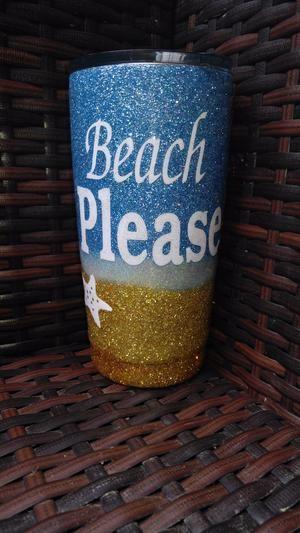 Beach Themed Glitter Dipped 20oz Tumbler