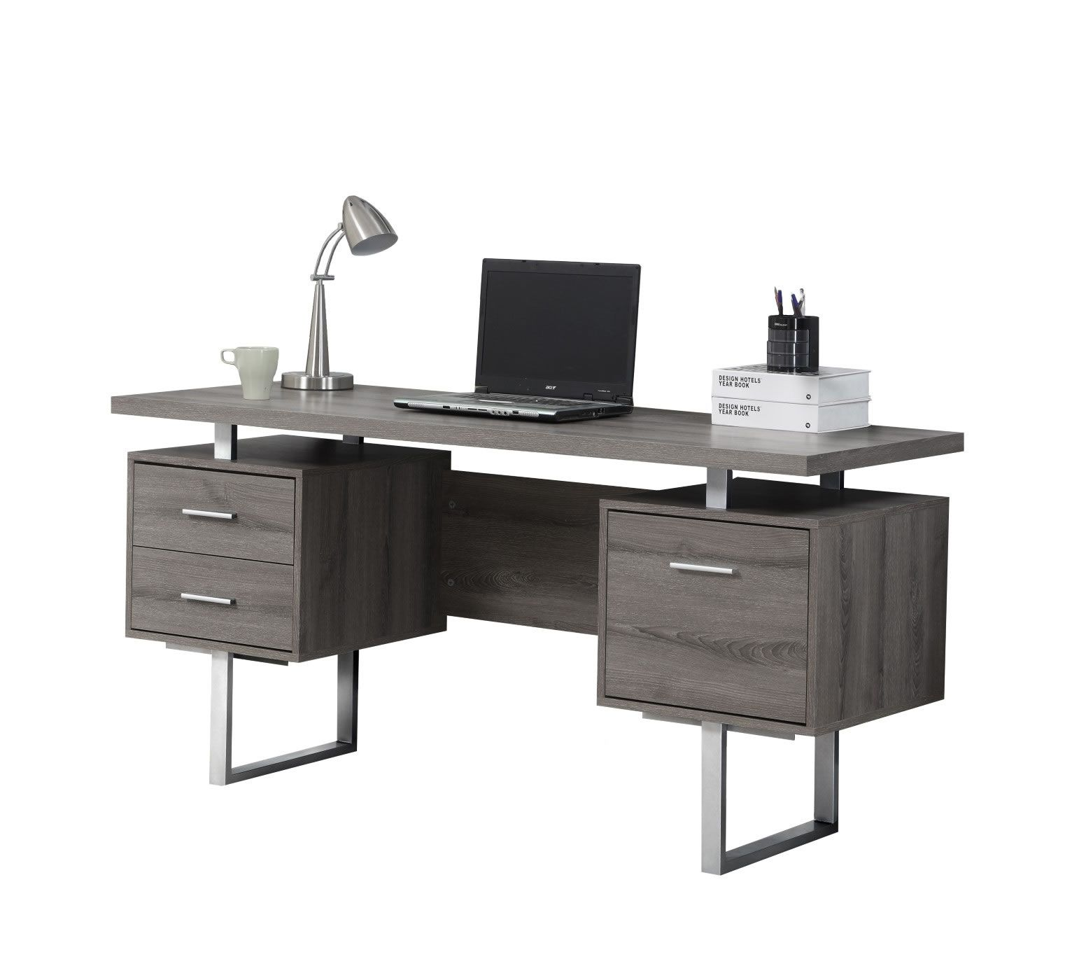 Sleek And Contemporary, This Dark Taupe Reclaimed Look Desk Is