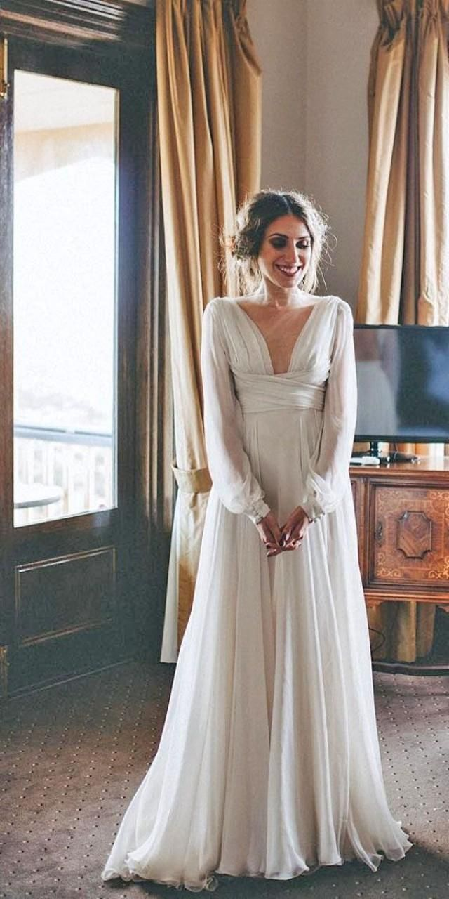 Aline vneck sweep train chiffon beach wedding dress with sleeves