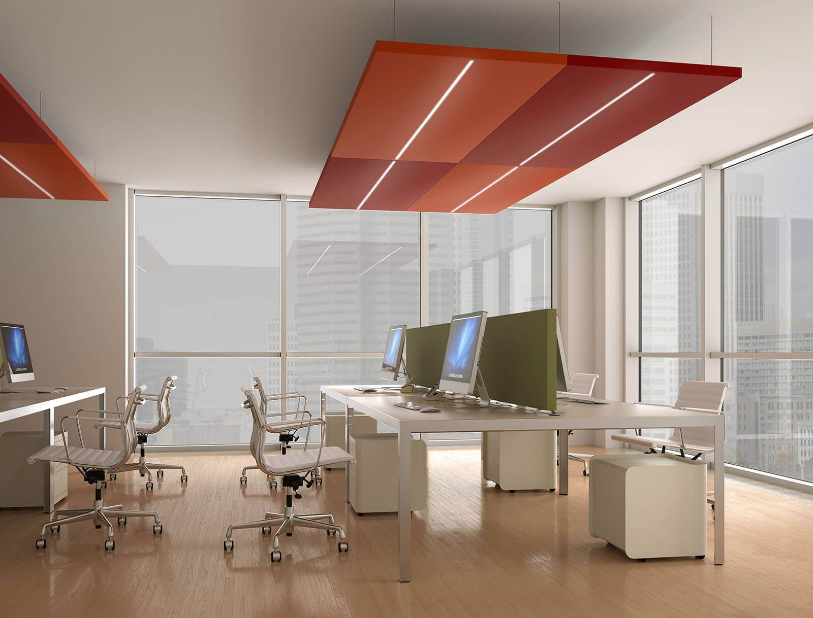 Office Acoustic Comfort, Scriba And Nuvola Sound Absorbing Panels With Led  Light