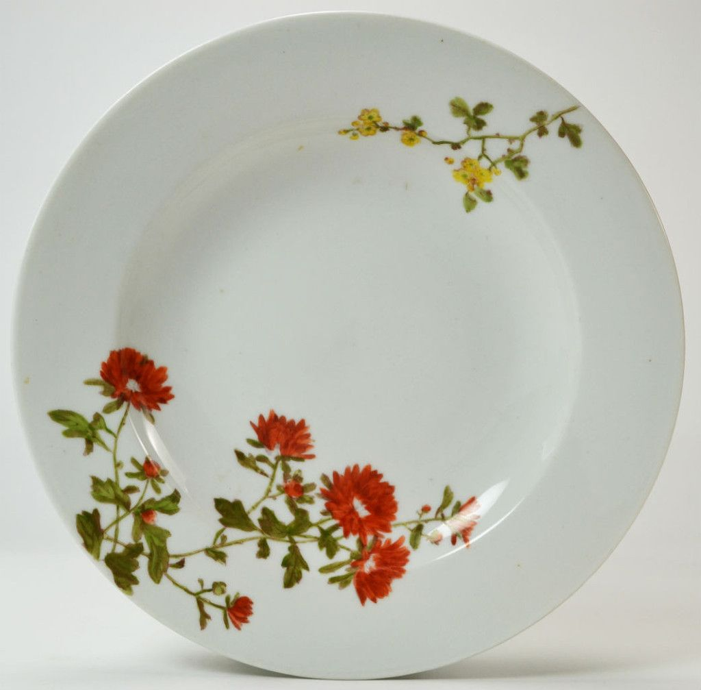 4 Limoges Porcelain Deep Dinner Plates with Red Flowers Antique French circa 1900 & 4 Limoges Porcelain Deep Dinner Plates with Red Flowers Antique ...