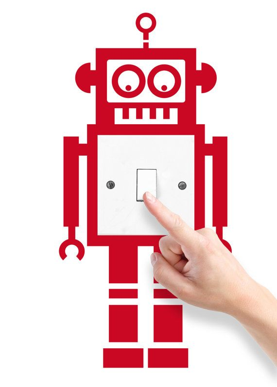 Robot light switch by HomeDecalsUK on Etsy, $9.00