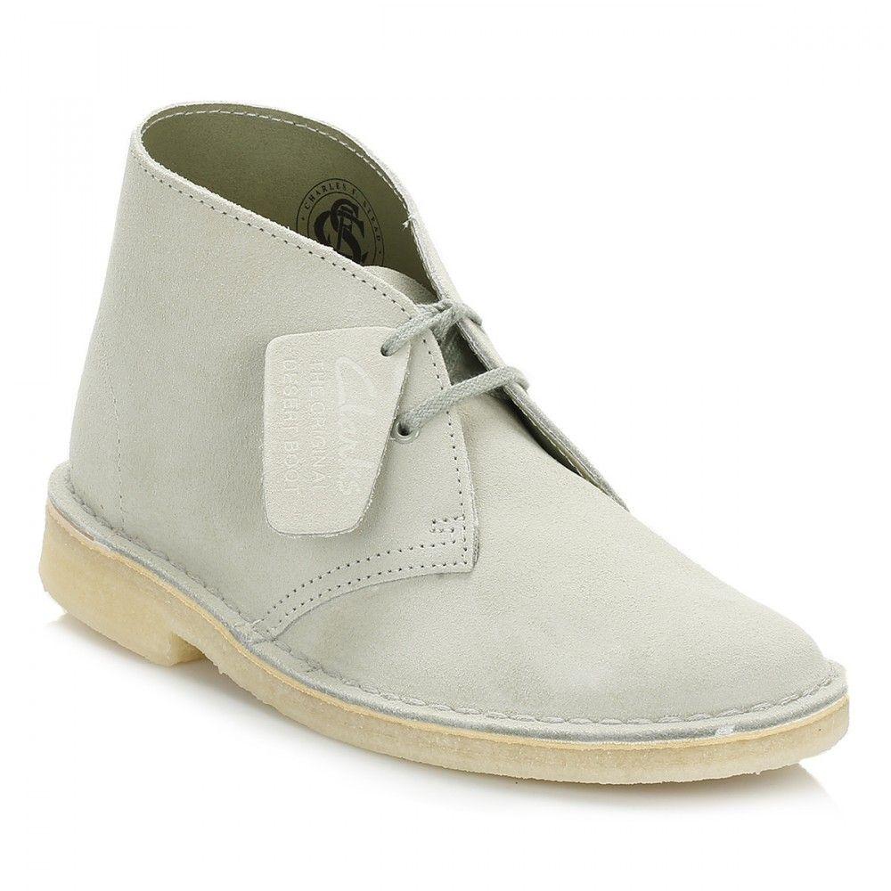 Clarks Womens Pale Green Suede Desert Boots