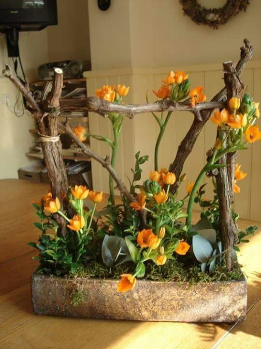 Fun branches in planter Floral design Pinterest Flowers