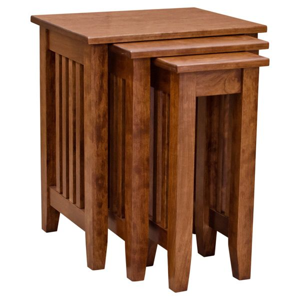 American Made Mission Style Nesting Tables Built from Solid Cherry Wood. Mission Nesting Tables Cherry   Woods