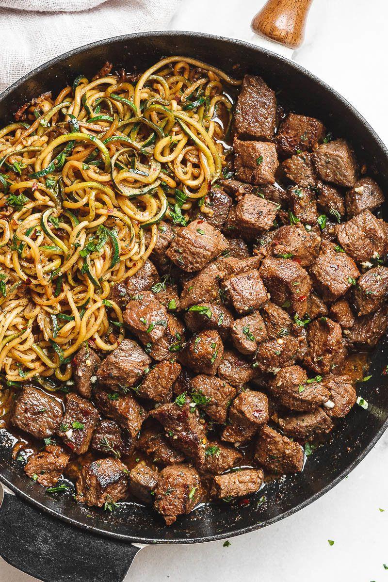 Garlic Butter Steak Bites with Lemon Zucchini Noodles #beefsteakrecipe