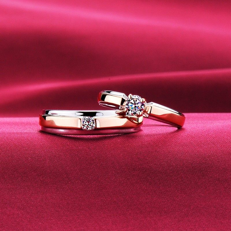 Rose Gold Color Four Claw Advanced Escvd Diamonds Lovers Rings Wedding Rings Couple Rings Couple Wedding Rings Engagement Rings Couple Gold Ring Designs