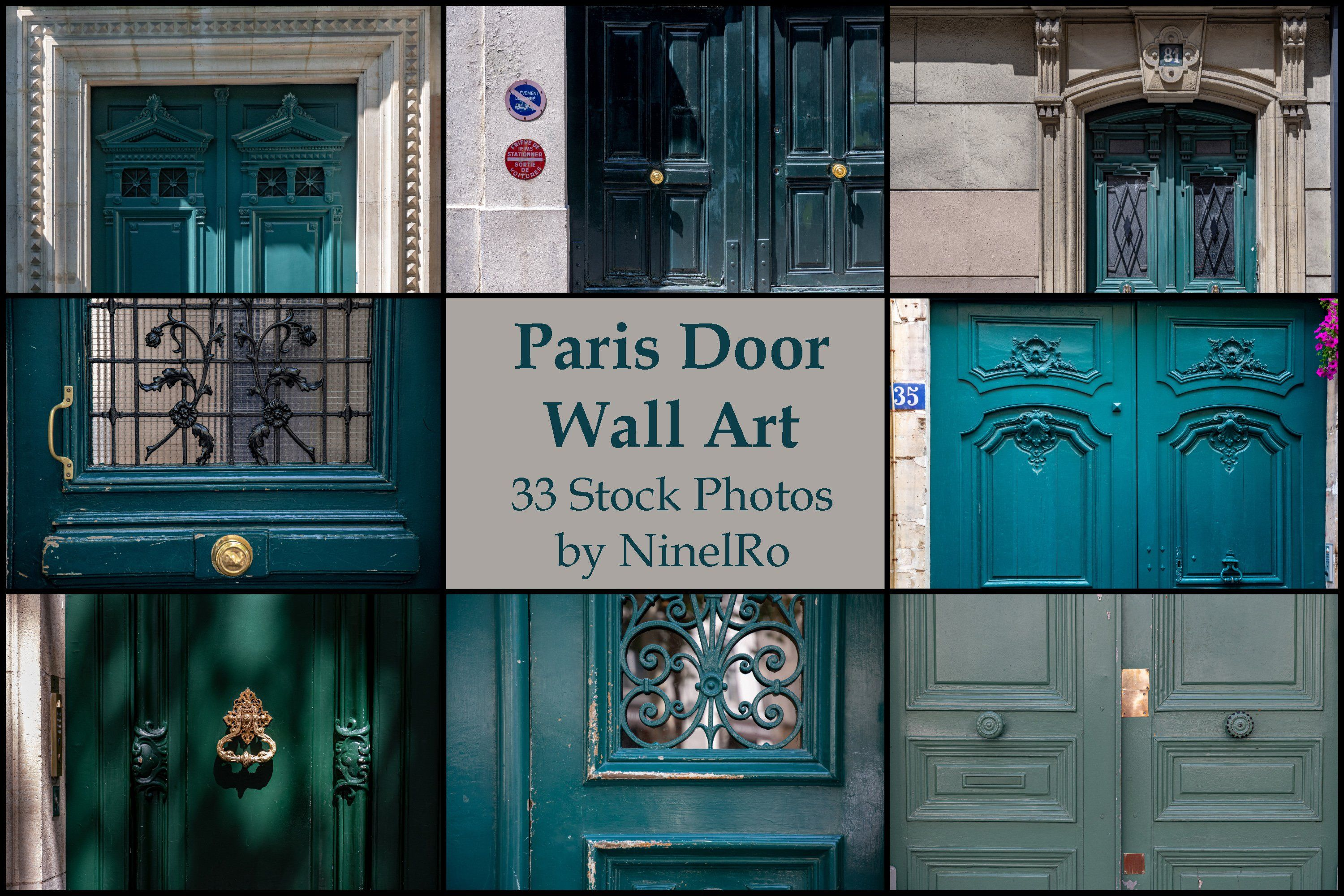 Paris Door Wall Art Set Of 33 Photos Vintage Green Doors Background Backdrop Texture Stockphoto Wallart Ninelro Postca Wall Art Sets Paris Door Art Set