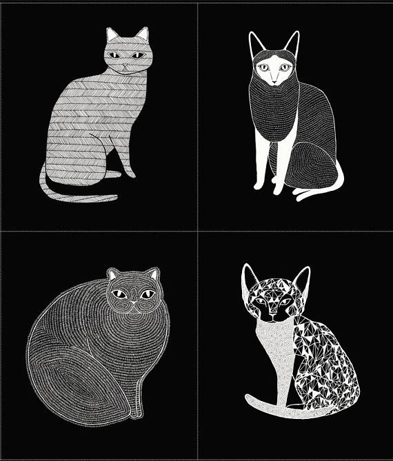 1 Panel of Kitty Faces Cotton Fabric