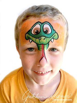 Snake par Gretchen Fleener de www.Paintertainme … #snake #facepainting