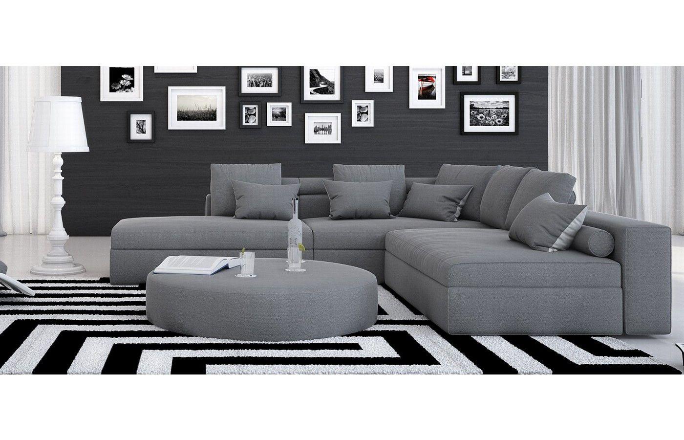 stoffsofa ari ecksofa in grau at home sofa stoff. Black Bedroom Furniture Sets. Home Design Ideas