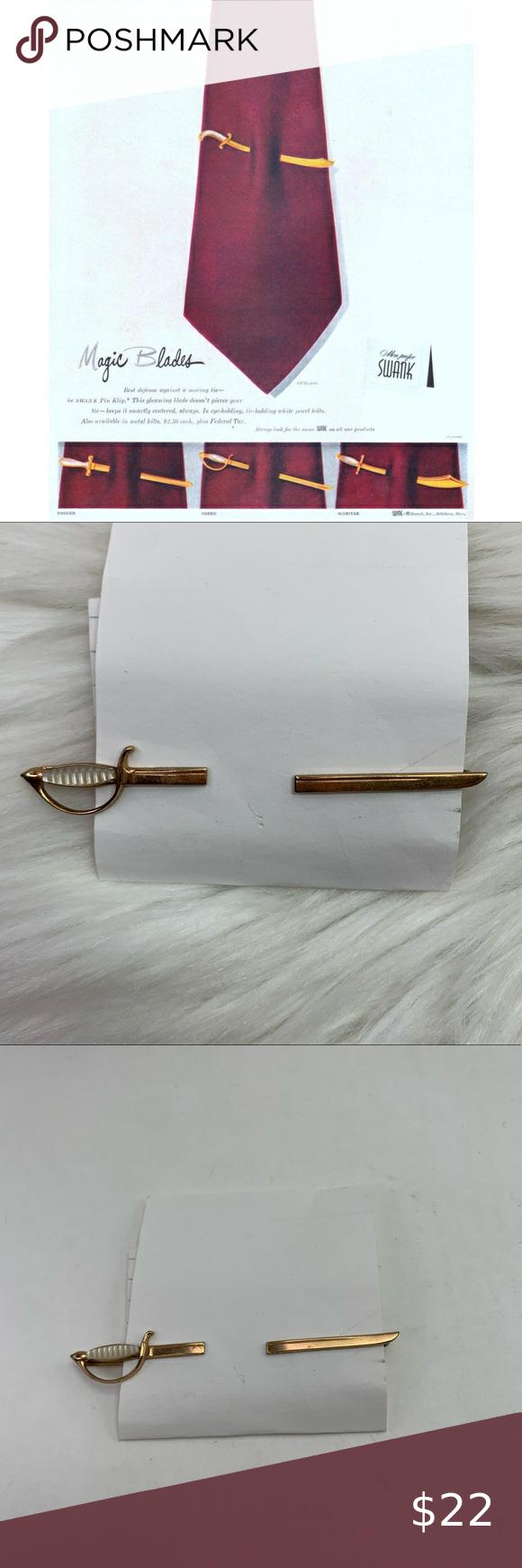 Swank Magic Blades Mother of Pearl Handle Sabre Sword 1940s Pierced Look Tie Clip Sabre Tie Clip Swank Sword Tie Clip