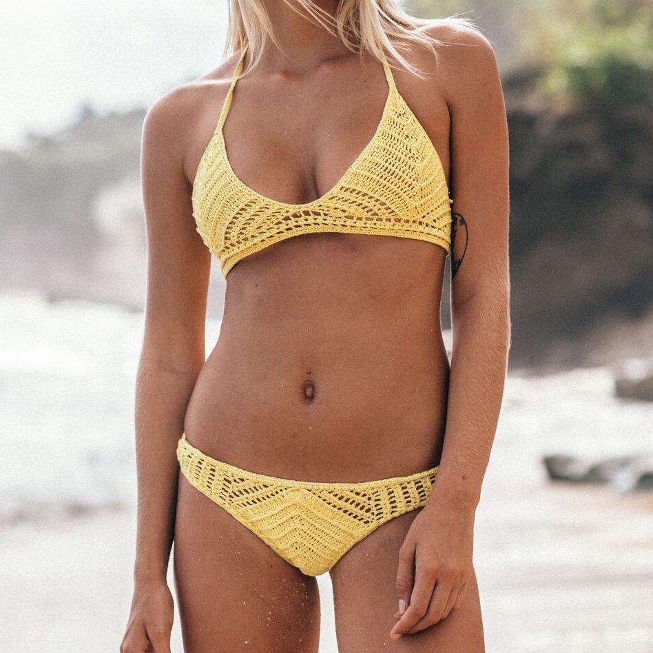 Sexy knitted bikini top brazilian fringe swimwear