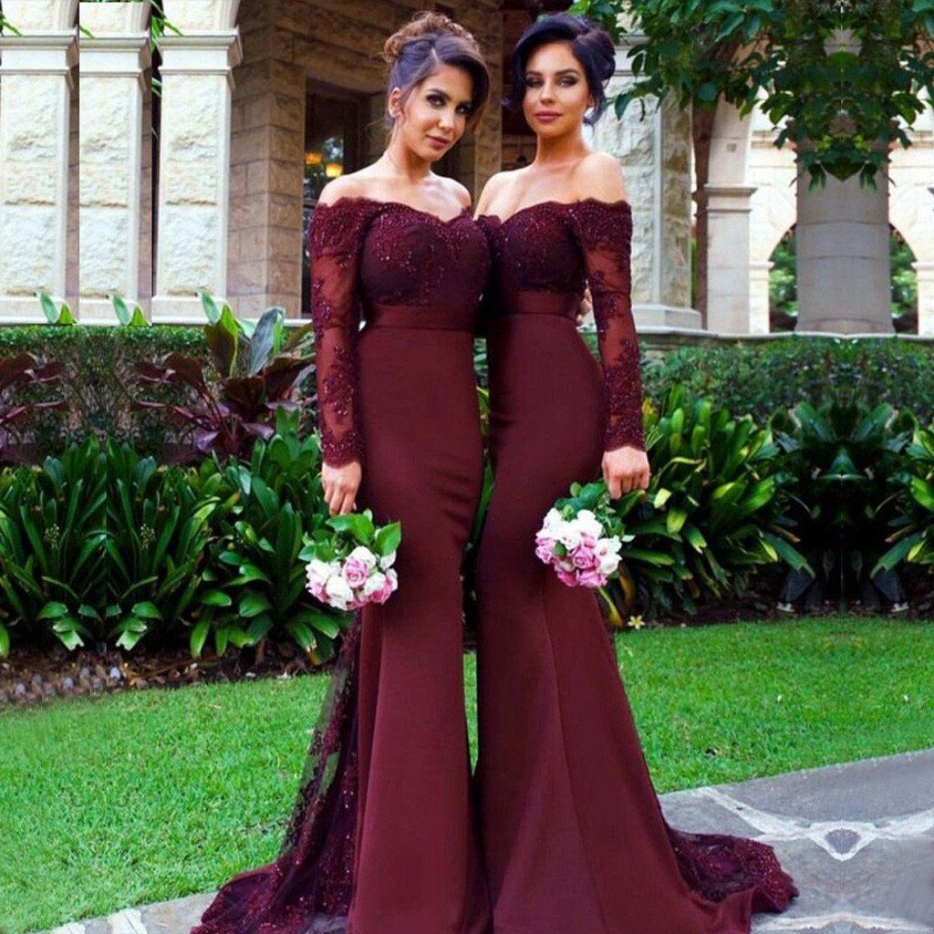 2017 Sexy Mermaid Long Sleeve Lace Long Burgundy Bridesmaid Dresses with Small Train ,WG153