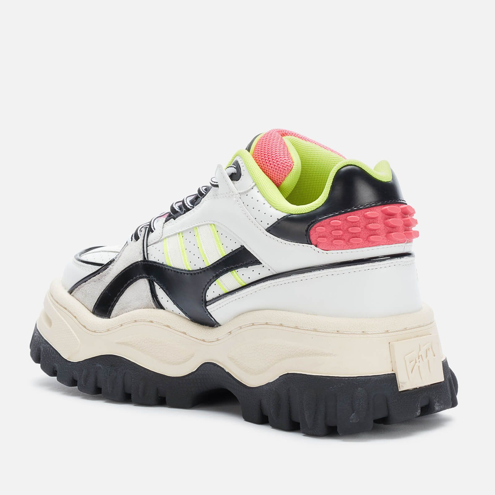 Eytys Womens Grand Prix LeatherSuedeMesh Chunky Trainers  White