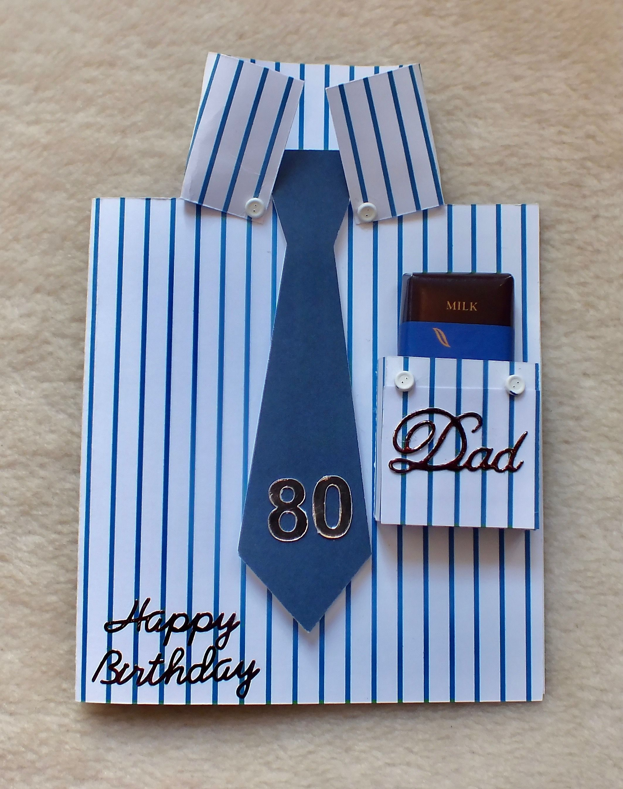 Handmade Bespoke Pinstripe Shirt And Tie 80th Birthday Card With Free Chocolate In The Pocket