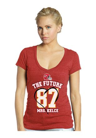 5c86cb78 Travis Kelce Majestic Threads KC Chiefs Womens Red The Future Mrs ...