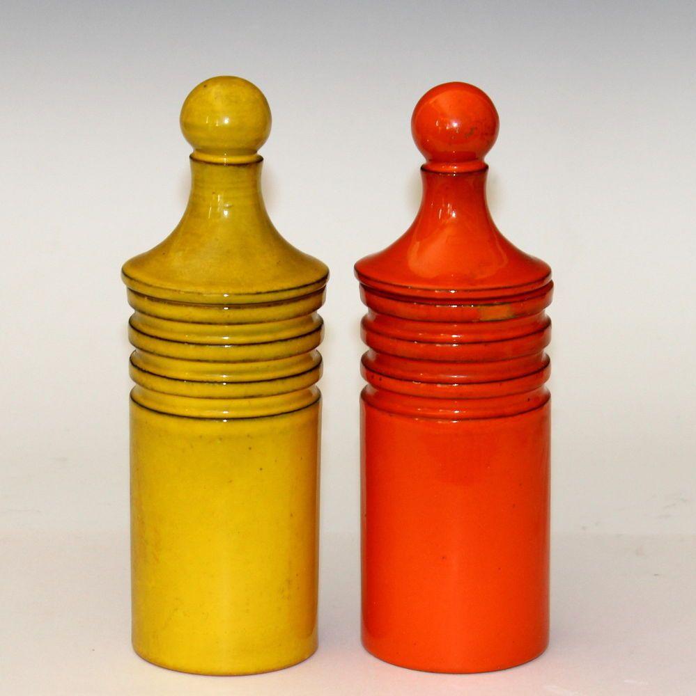 pair vintage 1960 u0027s italian art pottery kitchen jars canisters