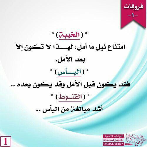 فروقات الخيبة واليأس والقنوط Arabic Lessons Arabic Language Words