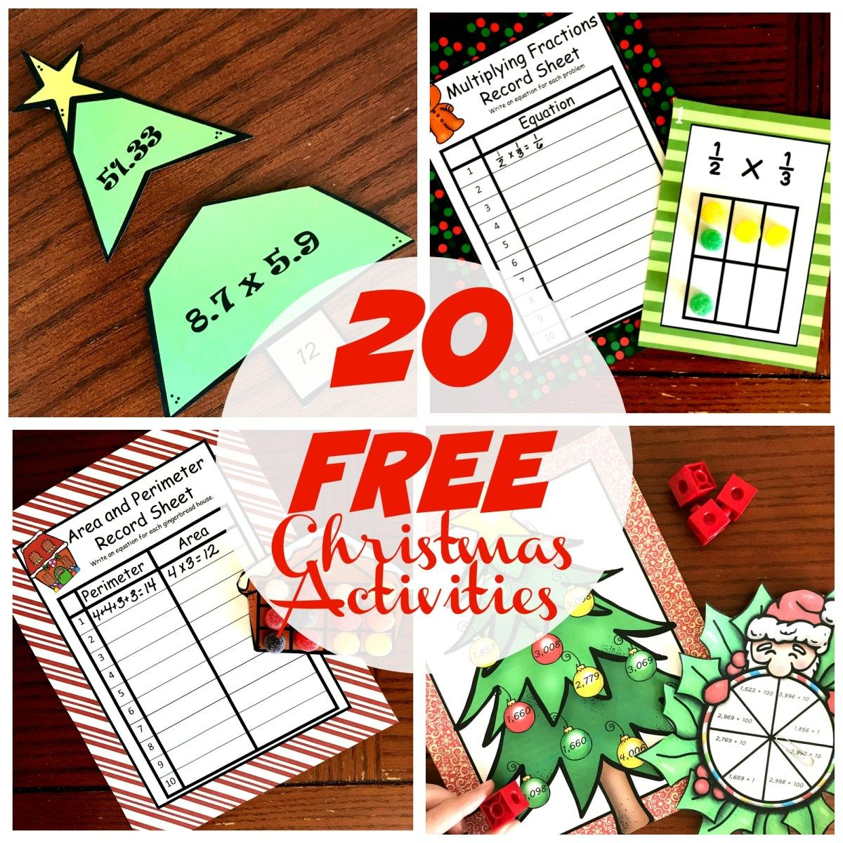 20 Free Christmas Math Activities For K