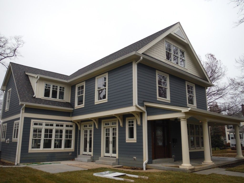 Project Name Boothbay Blue Lap With Cobblestone Board Batten Project Location Kirkwood Missouri 63122 Main Si House Exterior Blue Blue Siding Hardie Siding