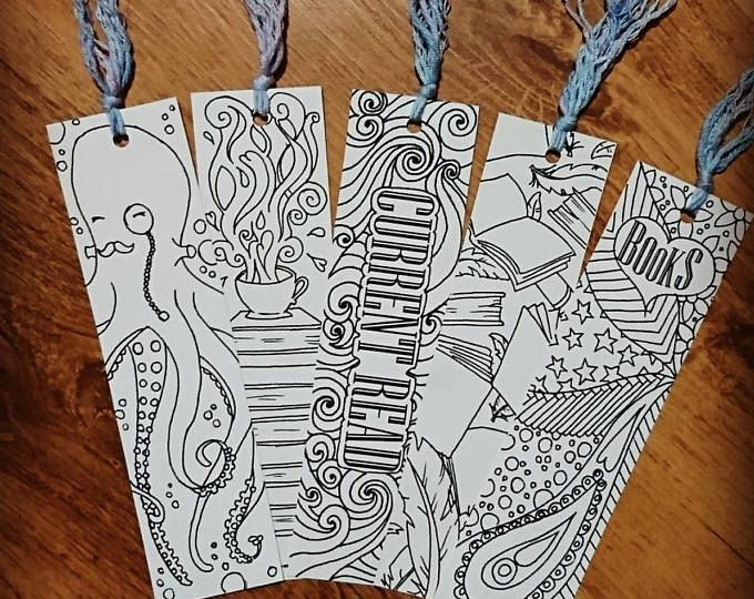 Colouring pages for adults unicorns : Colour your own bookmarks octobooks set art pinterest